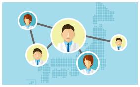他会社や人から産業医の情報を得るイメージ